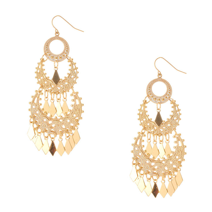 Gold & White Pantina Chandelier Drop Earrings,