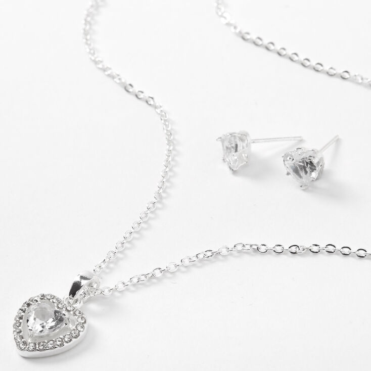 Silver Cubic Zirconia Halo Heart Jewelry Set - 2 Pack,