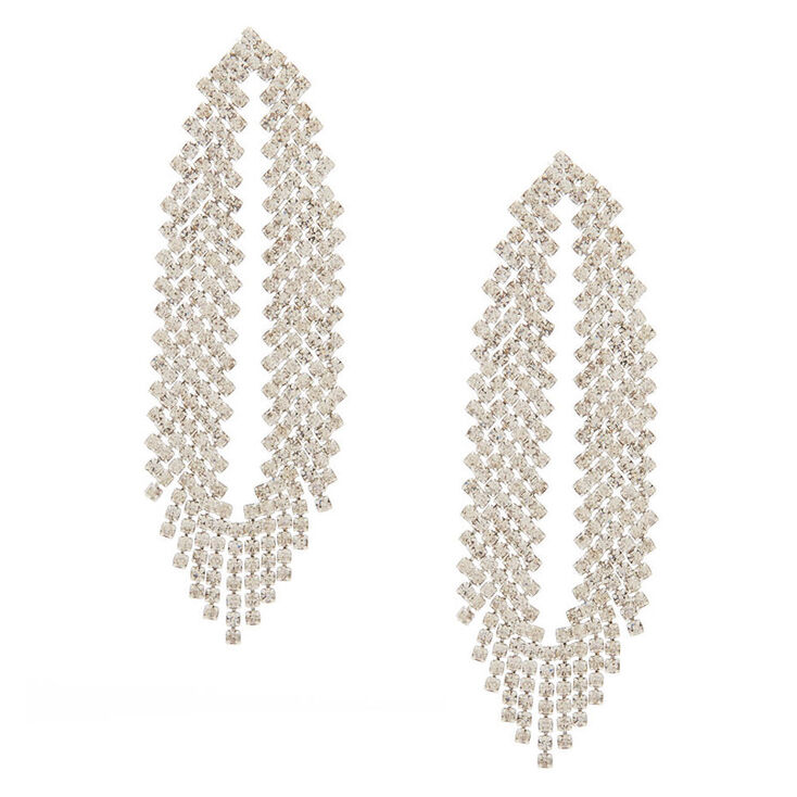 "Silver Glass Rhinestone 2.5"" Feathered Drop Earrings,"