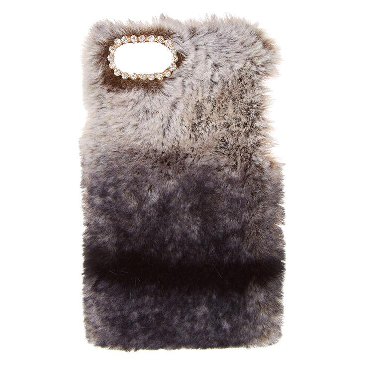 Black Faux Chinchilla Fur Phone Case,
