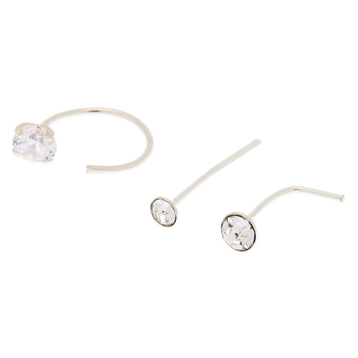 Sterling Silver 22G Nose Studs & Ring - 3 Pack,