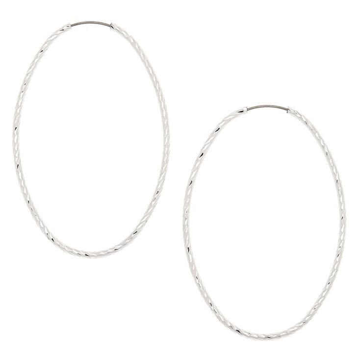 Silver 50MM Hammered Oval Hoop Earrings,