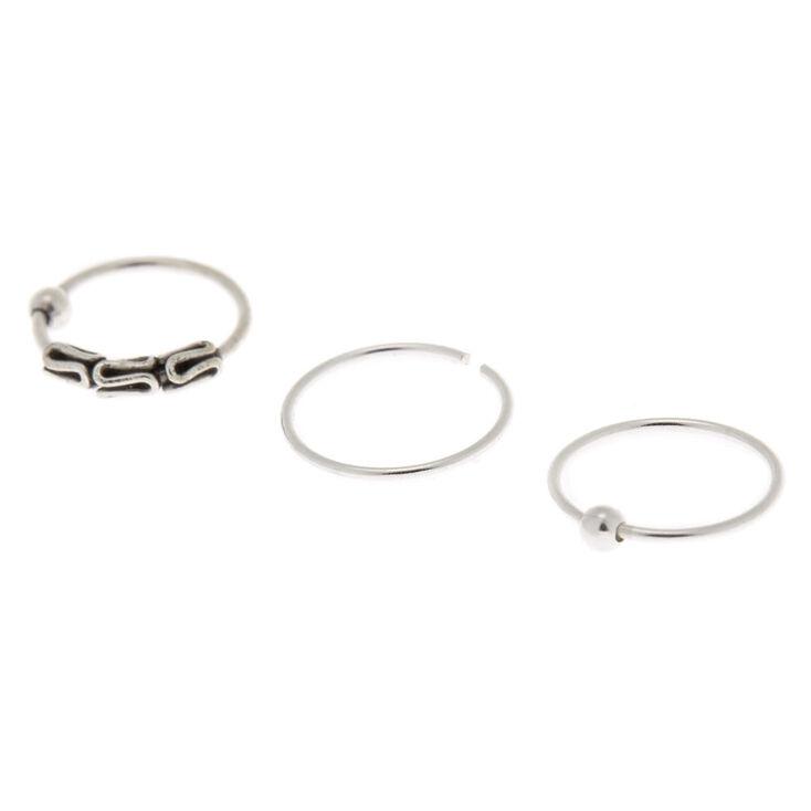 Sterling Silver 22G Twisted Bead Cartilage Hoop Earrings - 3 Pack,