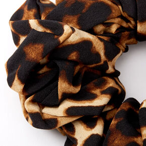 Giant Dark Leopard Hair Scrunchie - Brown,