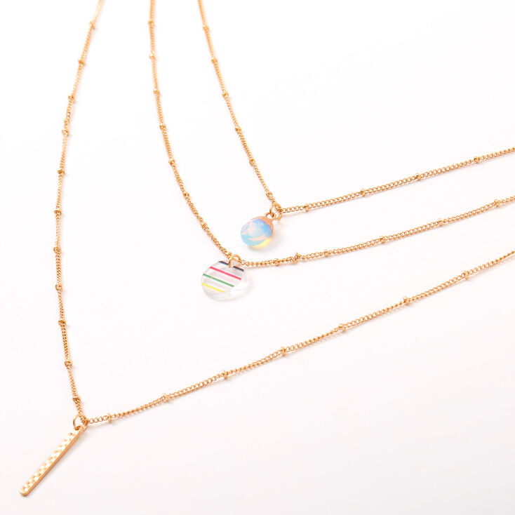 Gold Opal Rainbow Striped Multi Strand Necklace,