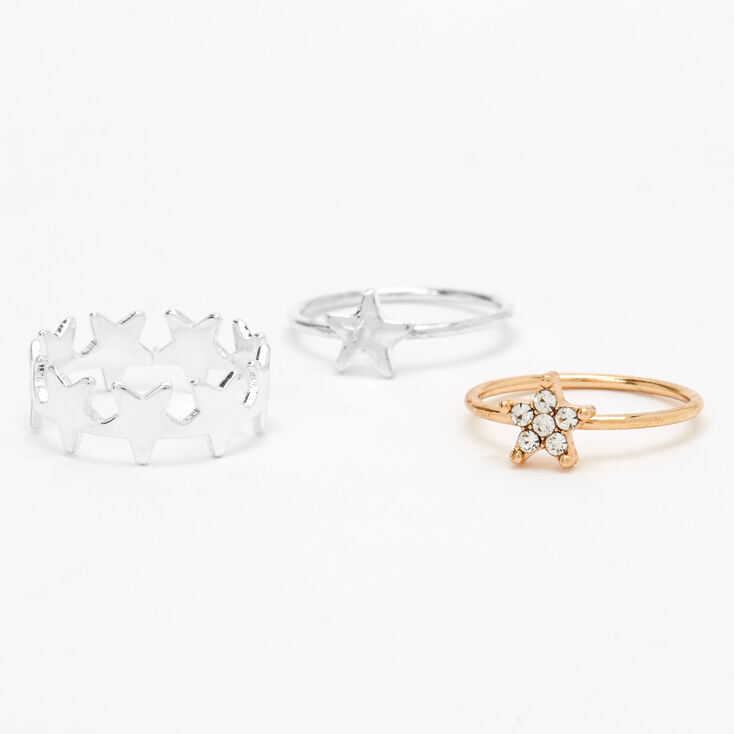 Mixed Metal Star Midi Rings - 3 Pack,