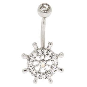Silver 14G Sailor Wheel Belly Ring,