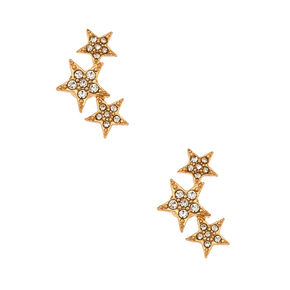 "Gold 1"" Crystal Star Magnetic Ear Crawler Earrings,"