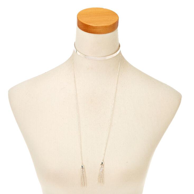 Silver Tassel Choker Necklace,