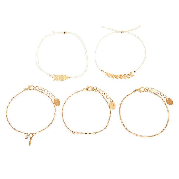 Gold Filigree Owl Bracelets - 5 Pack,