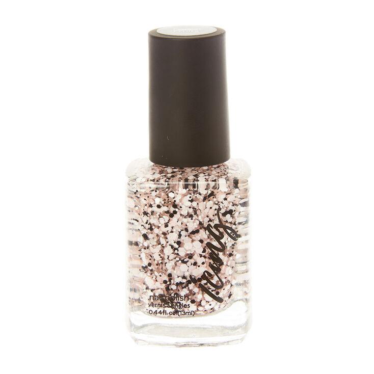 Pink & Black Splatter Nail Polish,