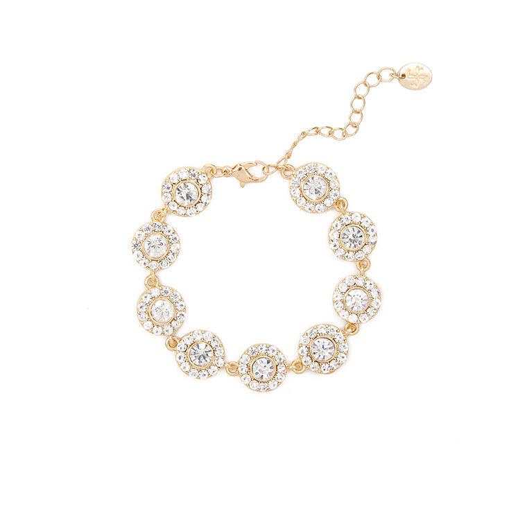 Pavé Crystal & Rhinestone Circles Bracelet,