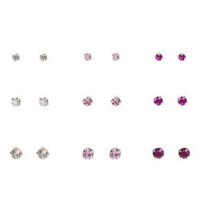 Graduated Pink Crystal Silver Framed Stud Earrings,