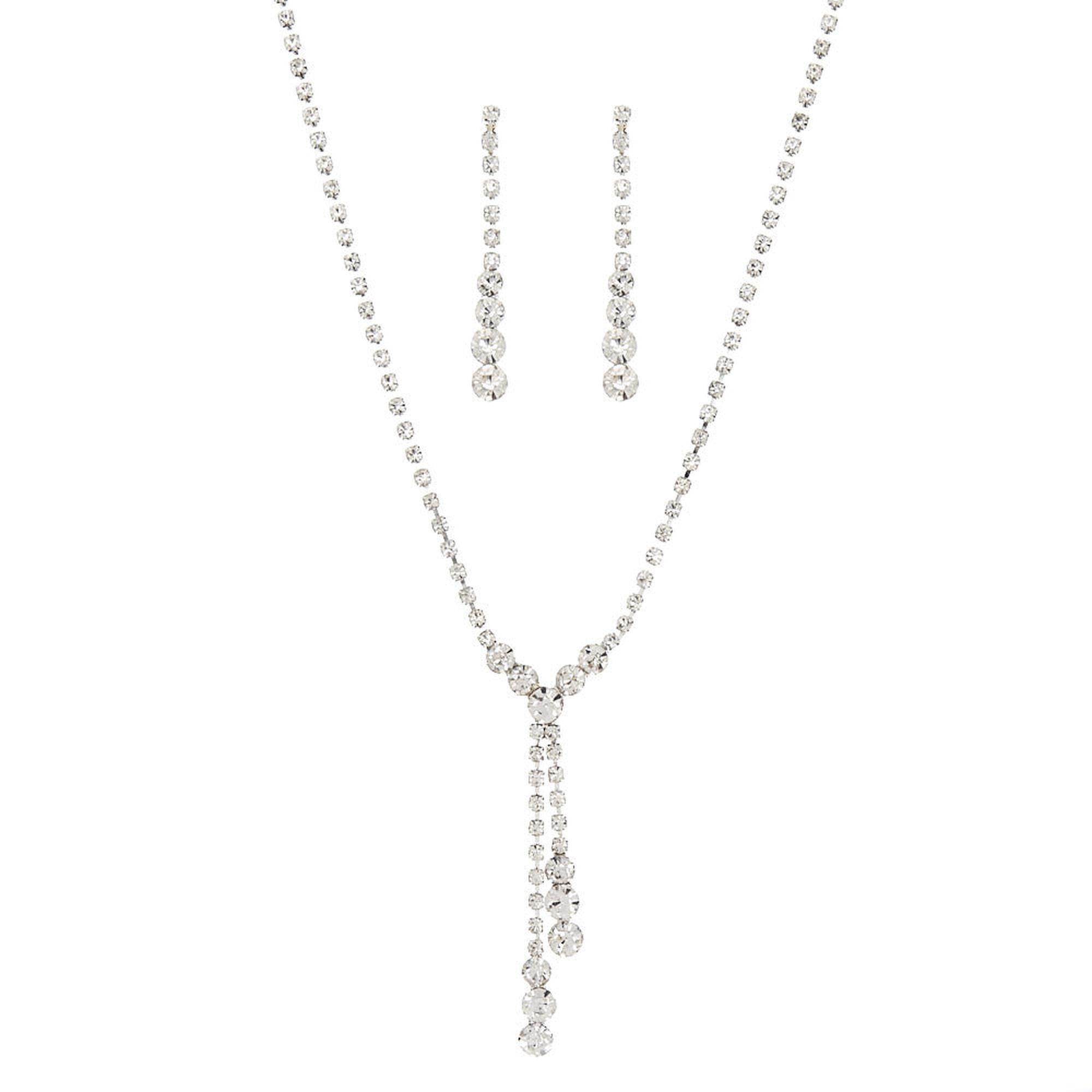 """May The 4th Be With You Necklace: Rhinestone & Graduated Crystals """"Y"""" Necklace & Drop"""