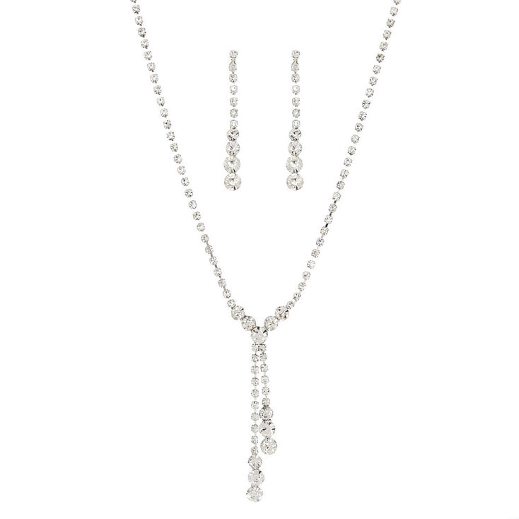 "Rhinestone & Graduated Crystals ""Y"" Necklace & Drop Earrings Set,"