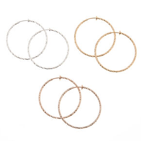 Mixed Metal Clip On Hoop Earrings - 3 Pack,