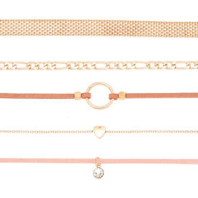 Rose Gold Fishnet Choker Necklaces - Pink, 5 Pack,