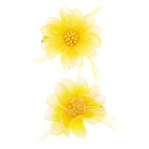 Feather Lily Flower Hair Clips - Yellow, 2 Pack,