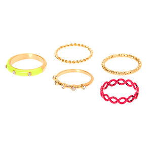 Gold & Neon Rings - 5 Pack,