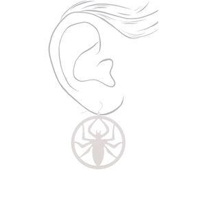 """Silver 2"""" Spider Drop Earrings,"""