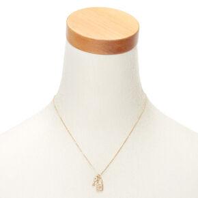 Gold Lock & Key Initial Pendant Necklace - C,