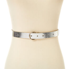 Metallic Snakeskin Belt - Silver,