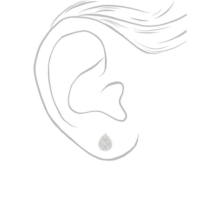 Silver Cubic Zirconia Teardrop Stud Earrings - 6MM,