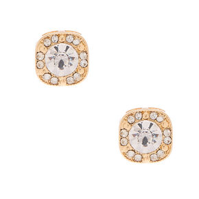 Gold Square Crystal Stud Earrings,