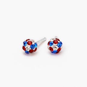 Sterling Silver Red, White & Blue Crystal Fireball Stud Earrings,