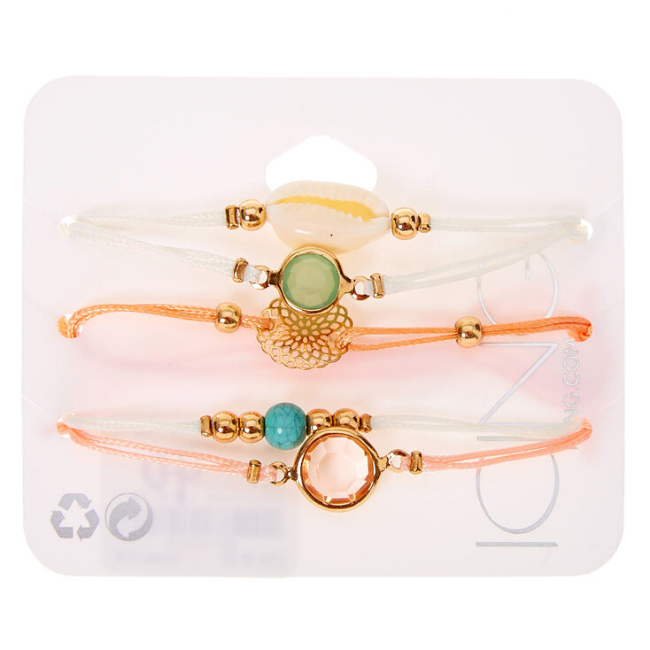 Pastel Cowrie Shell Adjustable Bracelets - 5 Pack,