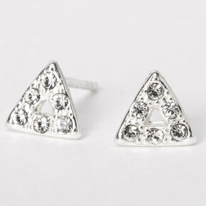 Sterling Silver Crystal Triangle Stud Earrings,