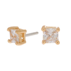 Gold Cubic Zirconia Square Stud Earrings - 4MM,