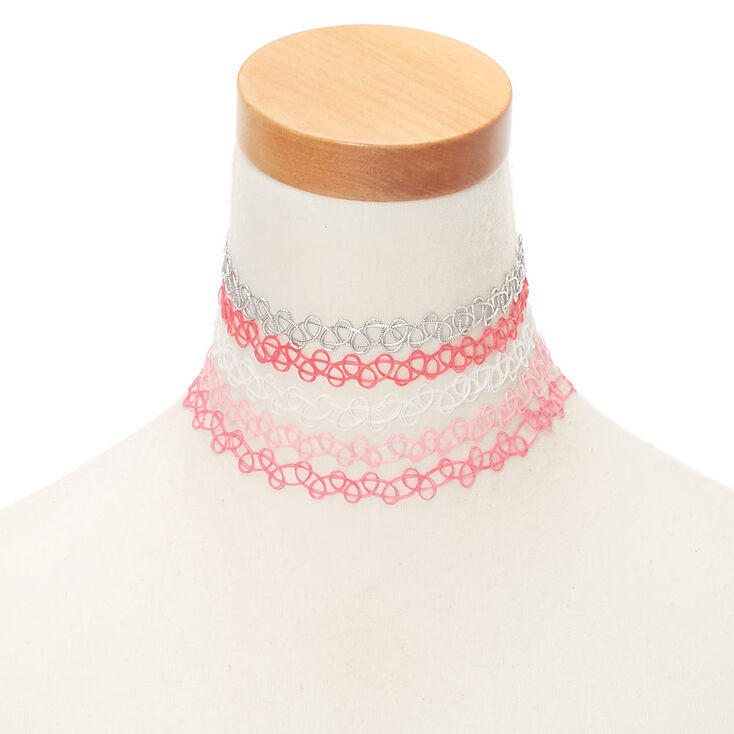 Tattoo Choker Necklaces - Pink, 5 Pack,