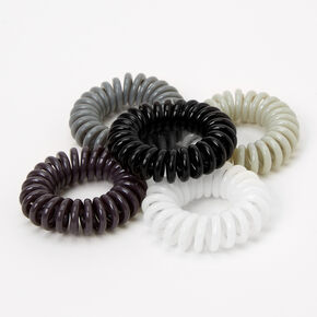 Black, Gray, & White Spiral Hair Ties - 5 Pack,