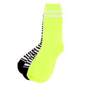 Neon Zebra Print Crew Socks - 2 Pack,