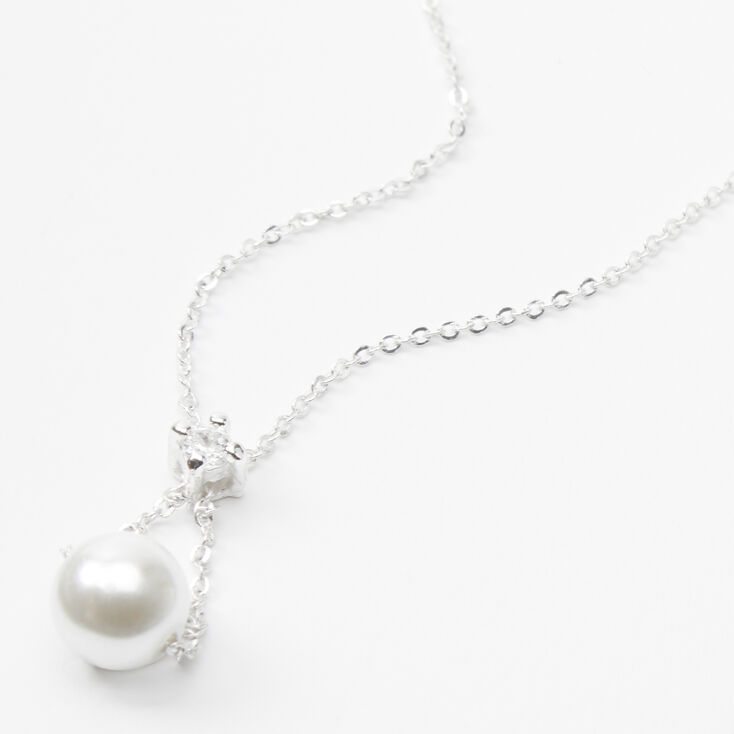 Silver Hanging Pearl Pendant Necklace,