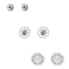 Silver Embellished Stud Earrings - 3 Pack,