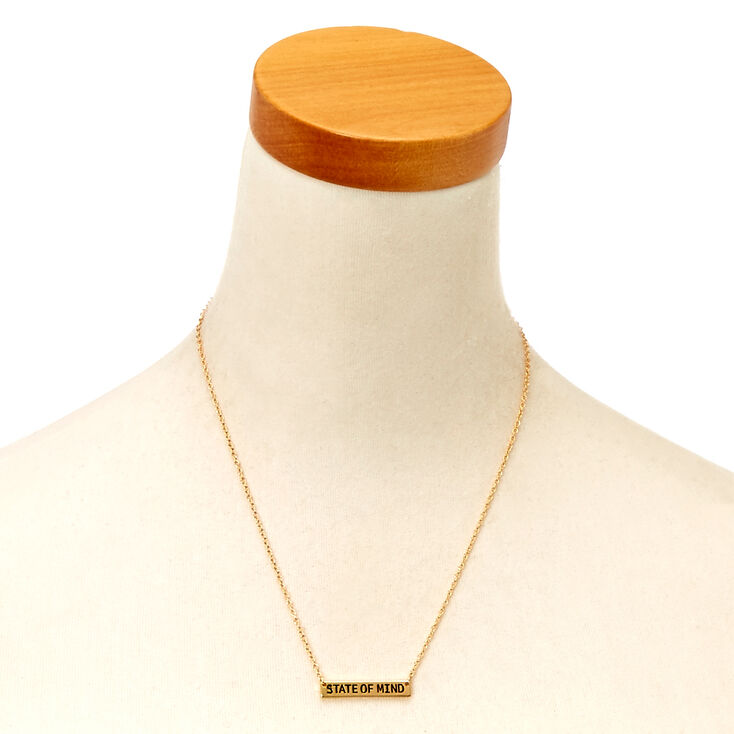 """""""State of Mind"""" Quote Gold-Tone Bar Necklace,"""