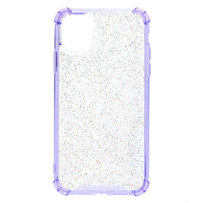 Clear Lavender Glitter Protective Phone Case - Fits iPhone 11,