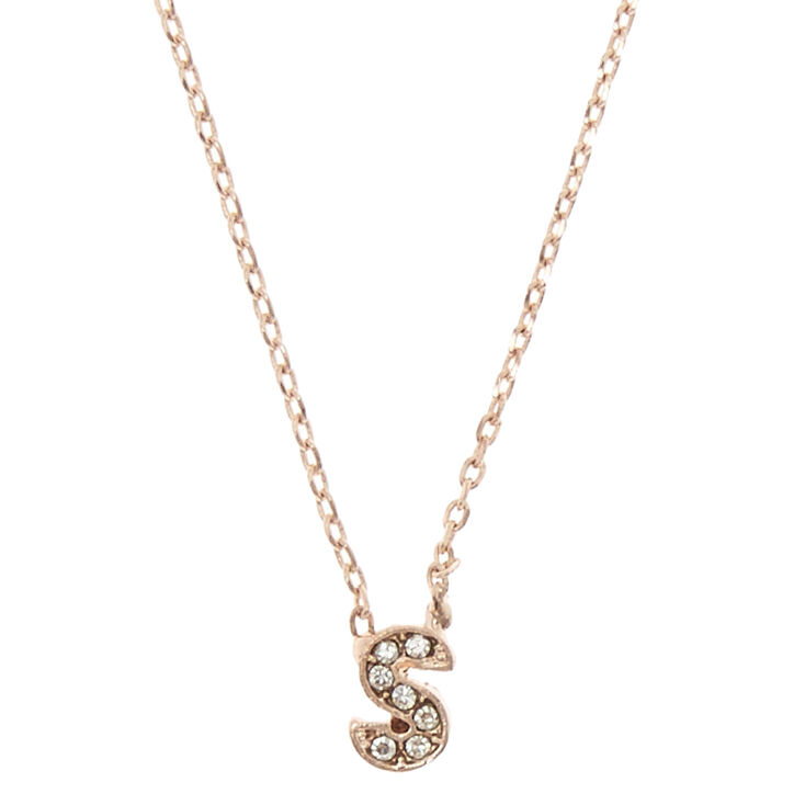 "Rose Gold-Tone ""S"" Initial Pendant Necklace,"