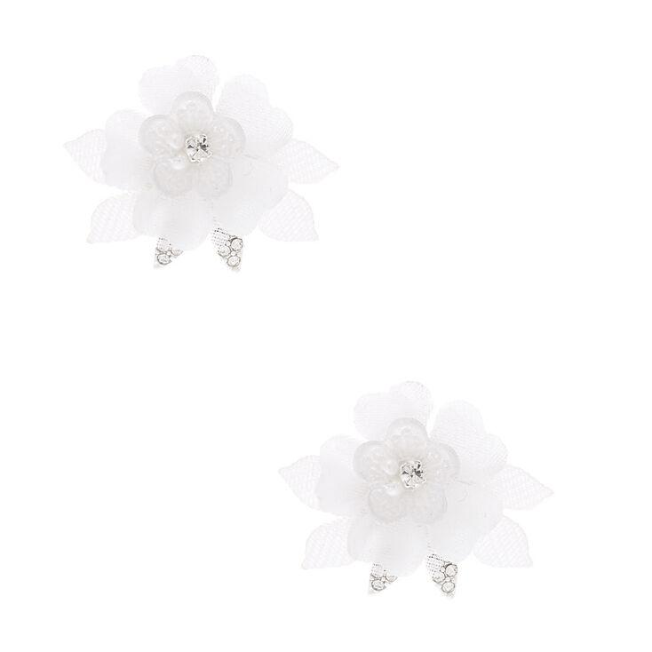 Tulle Flower Stud Earrings - White,