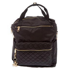 Quilted Double Handle Backpack - Black,