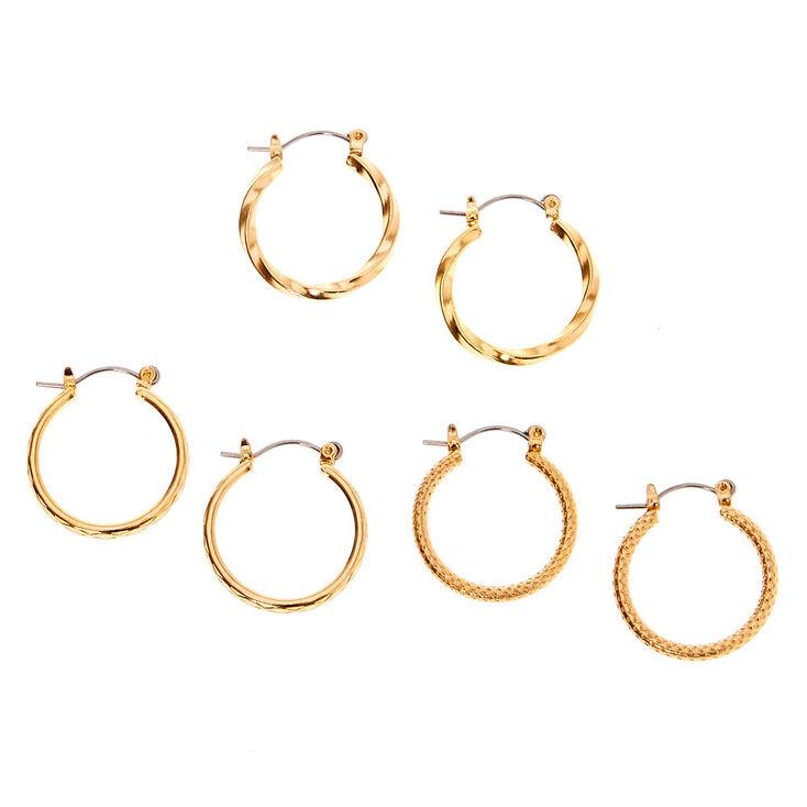 Gold 20MM Textured Hoop Earrings - 3 Pack,