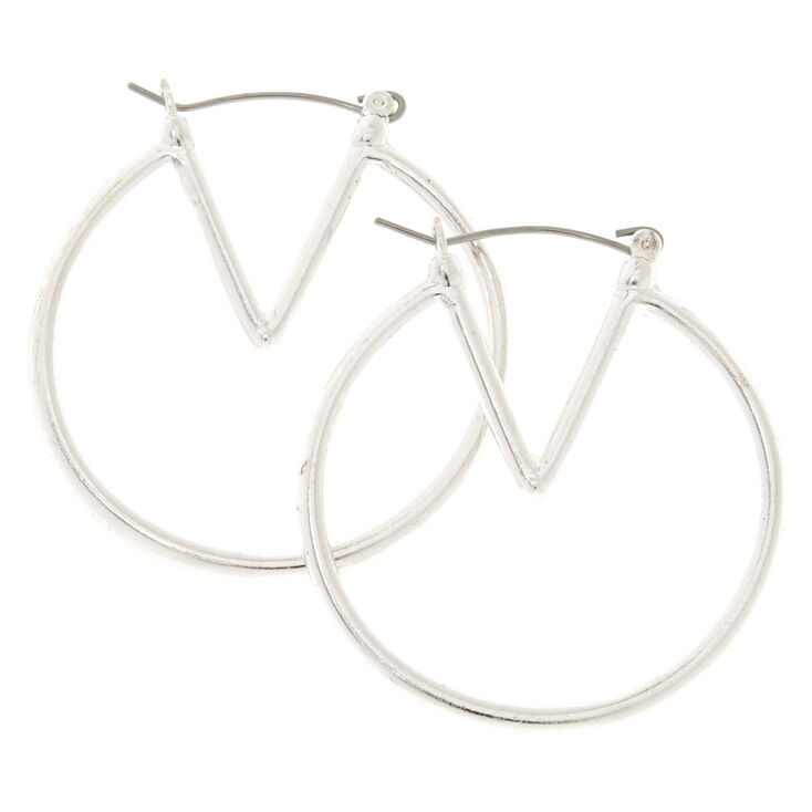 40MM Silver-Tone Geometric Hoop Earrings,