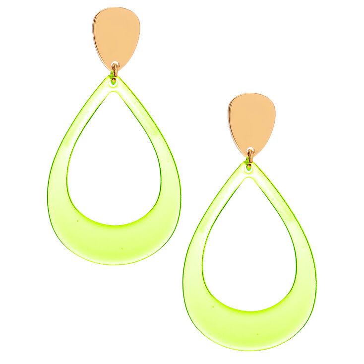 """Gold 2.5"""" Teardrop Drop Earrings - Neon Yellow,"""