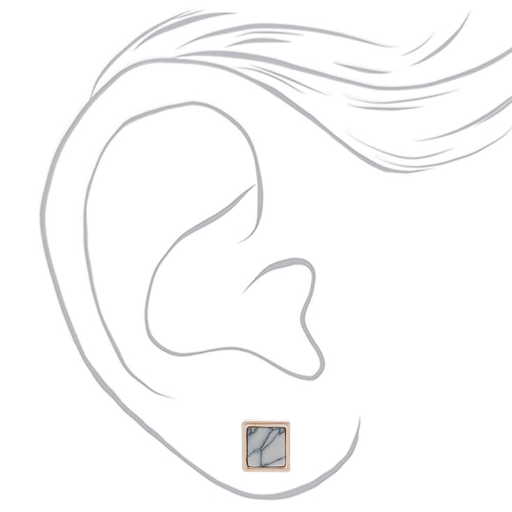 Rose Gold Marble Square Stud Earrings - White,