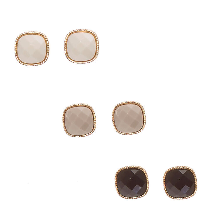 Gold Tone Framed Pillowed Square Bead Stud Earrings,