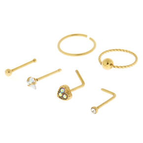Gold 20G Mixed Twist Nose Studs & Rings - 6 Pack,