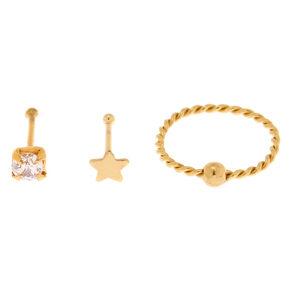 Gold Sterling Silver 22G Crystal Star Stud & Hoop Nose Rings - 3 Pack,