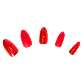 Glitter & Matte Faux Nail Set - Red, 24 Pack,